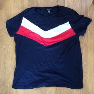 New Look Chevron Navy and Red T-shirt